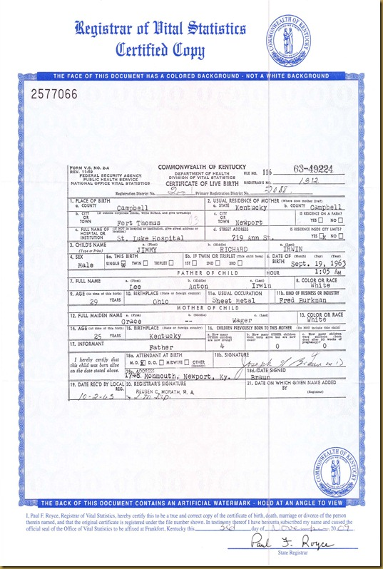 Jimmy Richard Irwin birthcert