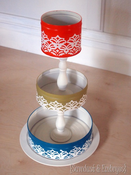 3-Tiered Organizer using old tins and candlesticks {Sawdust and Embryos}