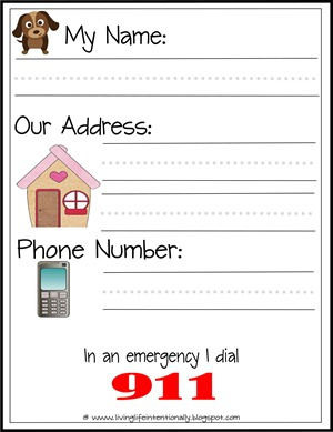 address and phone number template