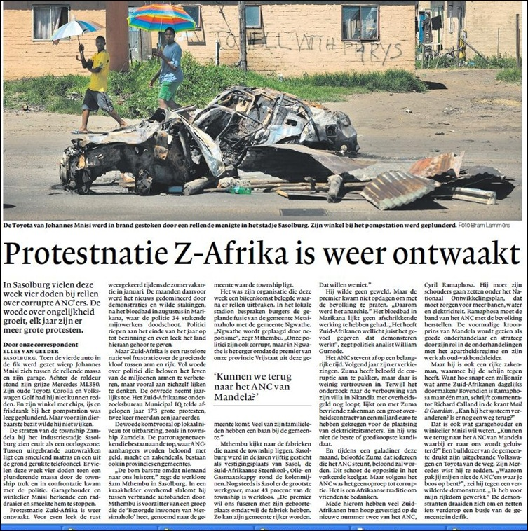 ANC fraud protests Sasolburg hit Dutch headlines