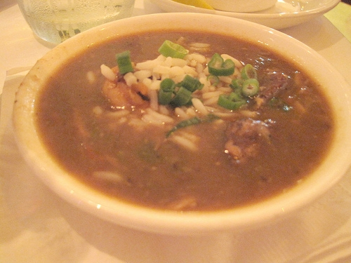 Neil and I tried to taste as many dishes as we could. This is Emeril's signature gumbo filled with shrimp and lots of spice.