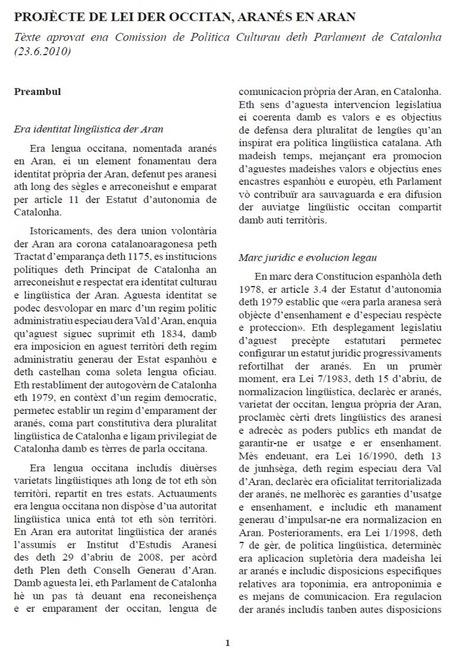 pagina un de la lei der occitan aranés en Aran