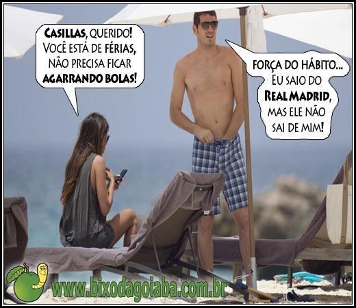Iker Cassillas agarrando asbolas mesmo de férias do Real Madrid