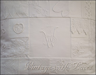 White linen and lace patchwork pillow