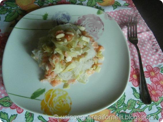noodles vermicelli soia soy carciofi articockes salmone affumicato smoked salmon pinoli pine nuts senza glutine