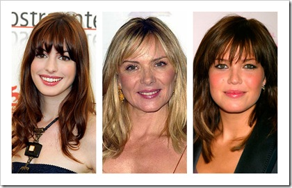 Anne Hathaway, Kim Cattrall, Mandy Moore Fringe Bangs Hairstyle Square Face