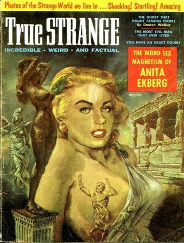 True Strange, October 1957.  Cover art by Thomas Beecham-8x6