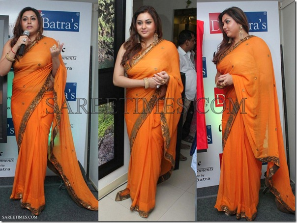 Namitha_Orange_Saree