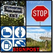 SIGNPOST- 4 Pics 1 Word Answers 3 Letters