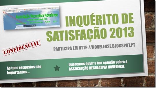 INQUÉRITO DE SATISFAçÃO 2013