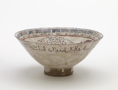 Bowl | Origin:  Iran | Period: 13th century and later | Details:  Not Available | Type: Stone-paste with underglaze and overglaze decoration | Size: H: 7.9  W: 18.0  cm | Museum Code: F1925.5 | Photograph and description taken from Freer and the Sackler (Smithsonian) Museums.