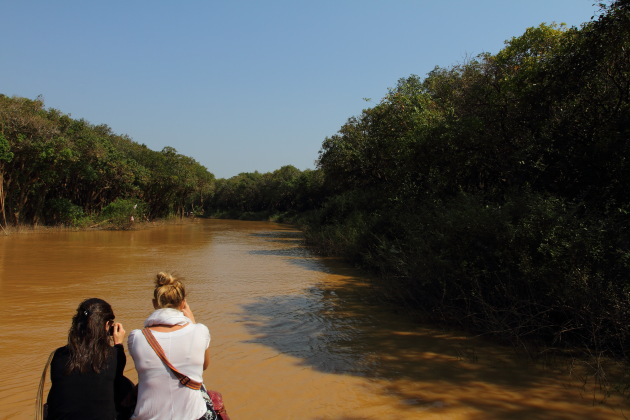 Entering the flooded forest of Kompong Phluk, Cambodia