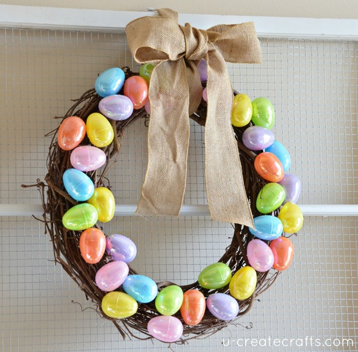 Plastic Easter Egg Wreath Tutorial by UCreate