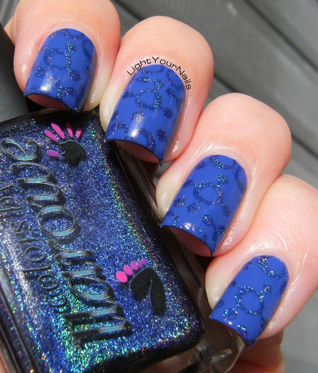 Royal Beauty Blu Lacca + Colors by LLarowe In The Navy + Cheeky Jumbo plate #10 Happy Nails