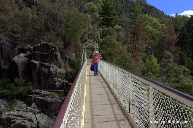 Karen on the bridge over gorge