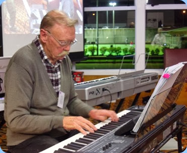 Colin Crann playing his new Korg Pa3X 76 note arranger keyboard. Photo courtesy of Dennis Lyons.