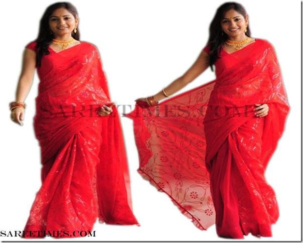 Madhavi_Latha_Red_Saree