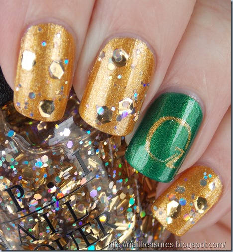 I Used Two Coats Of Rimmel London Camouflage For My Green Base On Ring Fingers Then Orly Glitz The Oz Logo Rest Nails