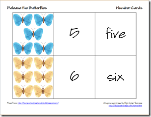 butterflies number cards 3