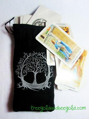 Gothic Tree Embroidered Tarot or Rune Bag by Treegold and Beegold
