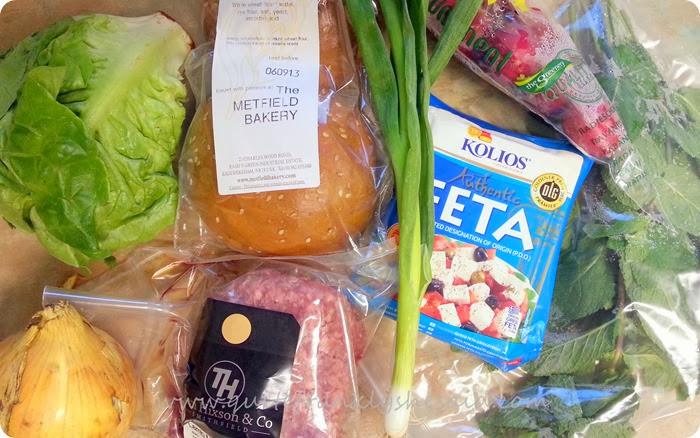 Hello Fresh Minted Lamb and Feta Burgers crunchy salad ingredients