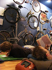 Getting ready for bed in a bicycle museum.  What more could we want?
