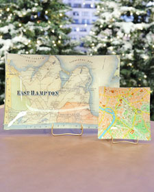 These serving trays are made by decoupaging maps onto glass trays. (marthastewart.com)