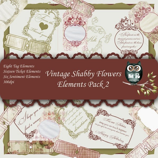 Vintage Shabby Flowers Elements Front Sheet Pack 2