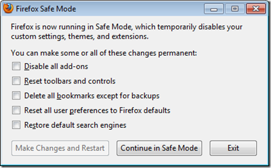 safe mode firefox