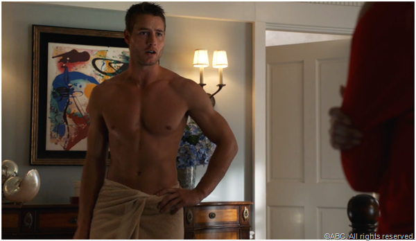 Justin Hartley plays Patrick, the son Victoria gave up for adoption years ago.