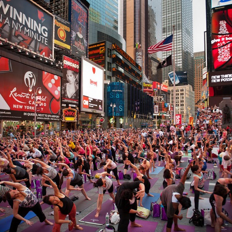 Thousands Perform Yoga at Times Square in New York