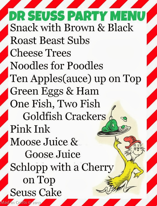 dr seuss party menu