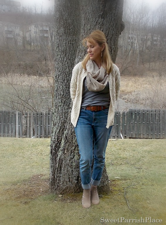 boyfriend jeans, grey T shirt, granny sweater, caged booties1