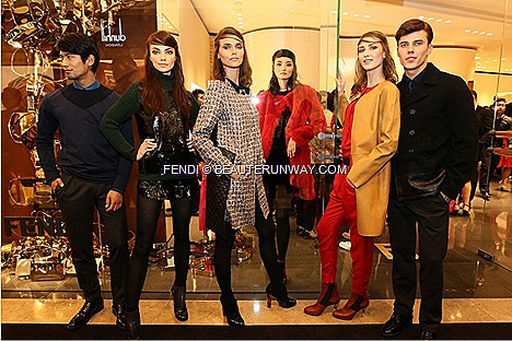 FENDI Fall Winter 2012 2013 Collection BAGUETTE women&#8217;s ready-to-wear, dress jacket bags shoe leather goods fur accessories showcase grand opening new FENDI South East Asia flagship boutique in Ngee Ann City Singapore