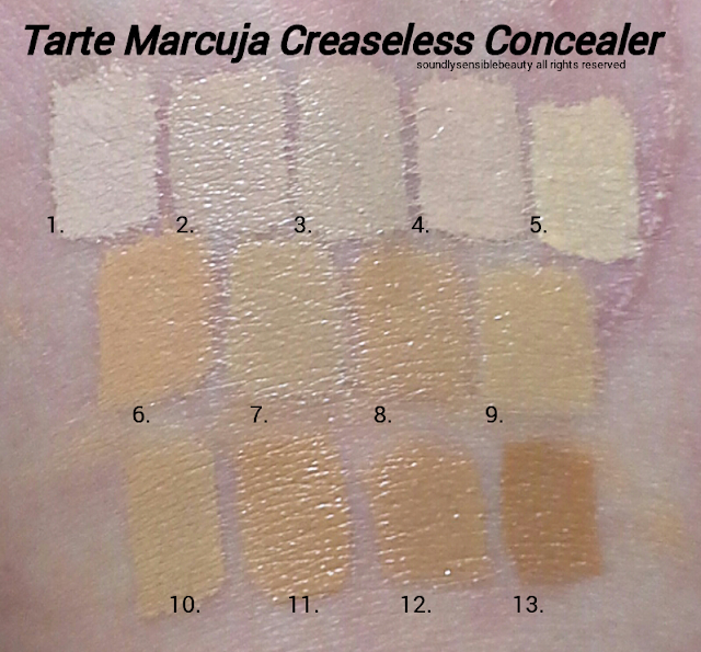 Tarte Marcuja Creaseless Full Cover Concealer; Review & Swatches of Shades 1 Fair, 2 Light, 3 Fairly Light Neutral, 4 Light, 5 Light Sand, 6 Light Medium, 7 Light Medium Sand, 8 Medium, 9 Medium Neutral, 10 Medium Sand, 11 Tan, 12 Tan Deep, 12 Deep