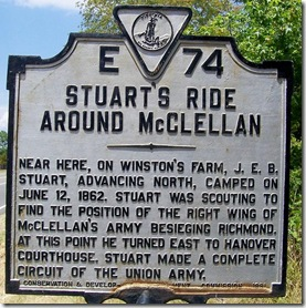 Stuart's Ride Around McClellan marker E-74 in Hanover County, VA