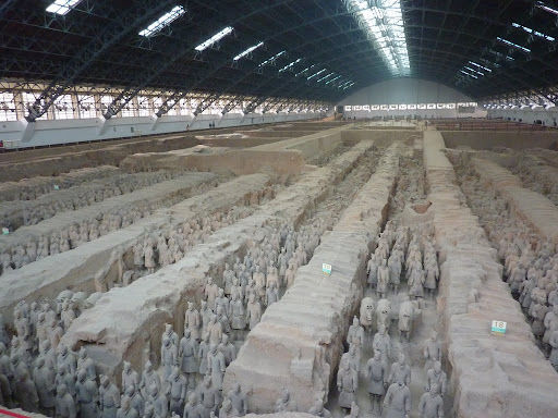 Finally Pit 1, containing 6,000 Terracotta warriors ready to protect Emporer Qin in the afterlife.