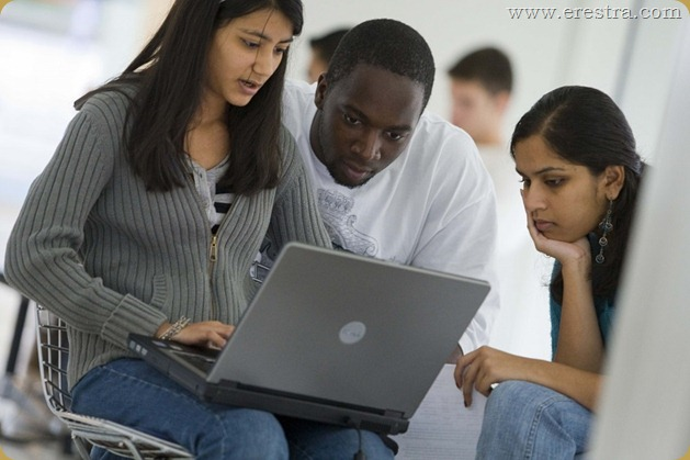 Photo of a students using a laptop at the Stamford Campus.