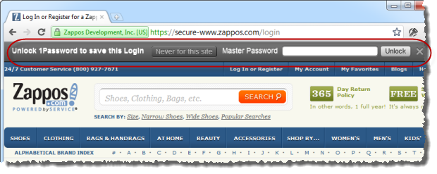 1Password offerring to remember my Zappos password