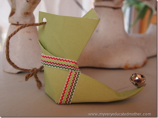 @mvemother #Origami Elf Boot Ornaments #NUO2012