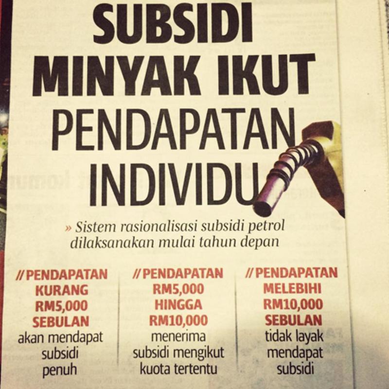 Subsidi Minyak Ikut Pendapatan Individu ?