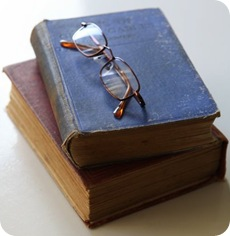 old books with glasses