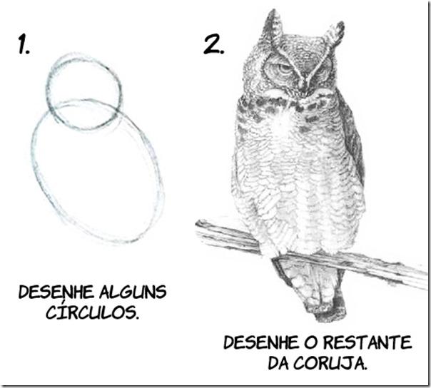 Como desenhar uma coruja em dois passos