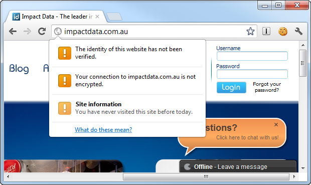 Impact Data website with logon and no TLS