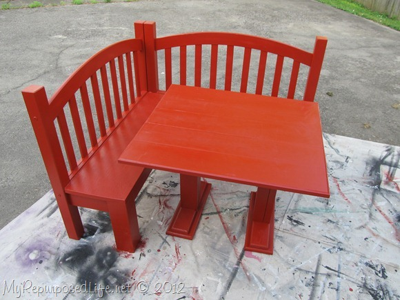 red table and bench kids