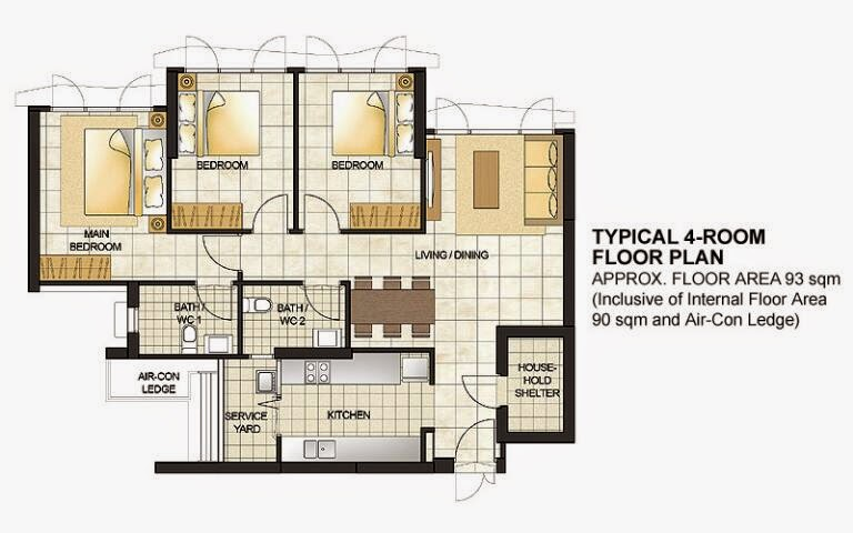 This Is The Typical Layout For Four Rooms HDB Flat Image From Website
