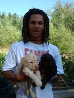 Our Grandson with Puppies Olivia and Chiloe