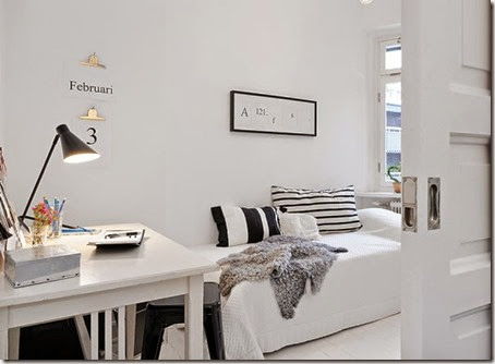 black-white-bedroom-office-area