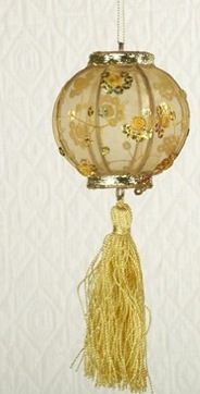 gold fabric Chinese lantern ornament