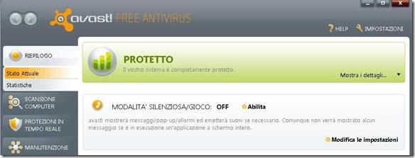 Modalità Gioco Avast Antivirus